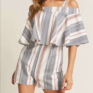 Striped Open Shoulder Romper by London Rose (F21)